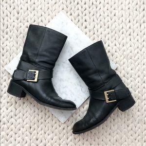 Chloe Black Leather Buckle Combat Moto Boots